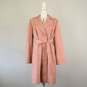 Banana Republic Dusty Rose Cotton Trench Pea Coat